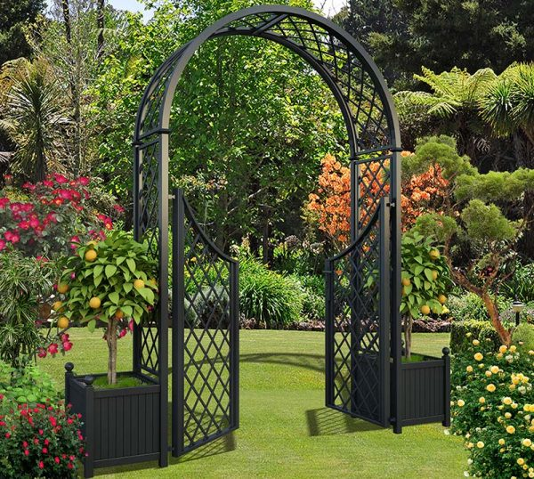 Round Top Garden Arch Portofino with Double Gate and two Versailles Planter Boxes