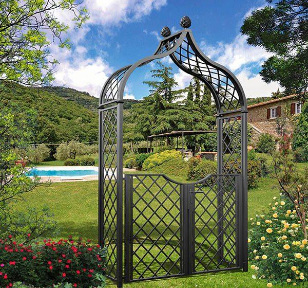 Metal Victorian Garden Arch 'Brighton' with garden gate