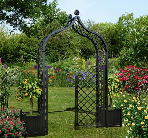 The Metal Garden Arch 'Brighton' with double gate and versailles planters