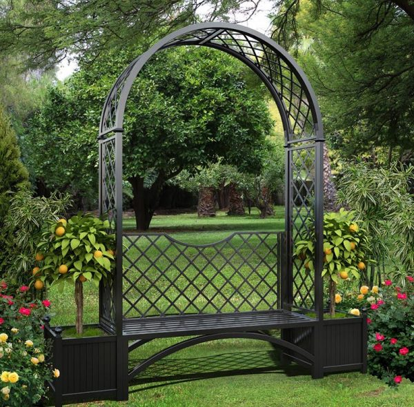 Portofino Arbour Seat with two Versailles Planter Boxes