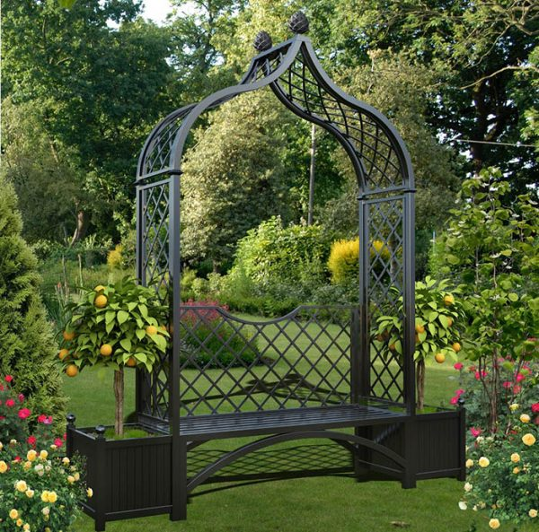 Metal Arbour Seat 'Brighton' with two versailles planter boxes