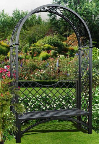Metall Rosenbogen Portofino mit Gartenbank