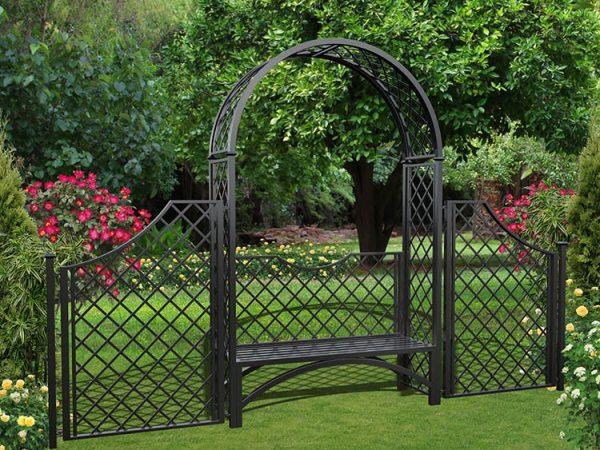 Metall Rosenbogen Portofino mit Gartenbank und 150 cm hohem Zaun