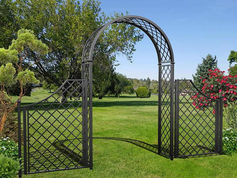 Metall Rosenbogen Portofino mit hohem Zaun