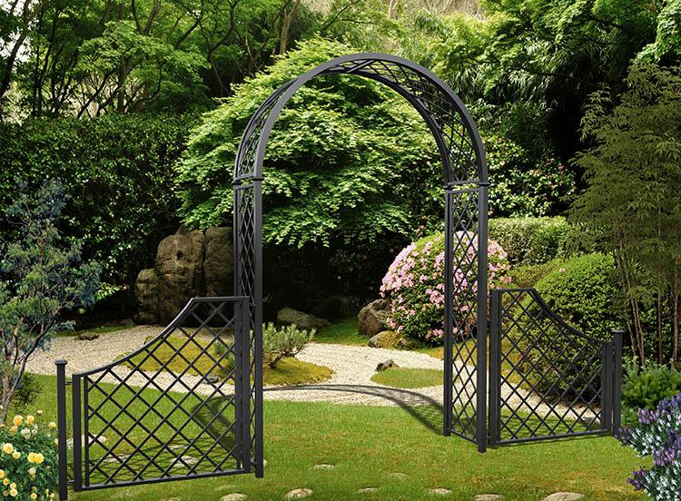 Metall Rosenbogen Portofino mit Zaun