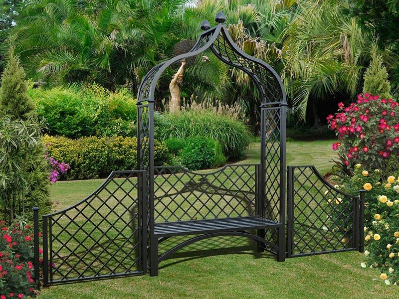 Metall Rosenbogen Brighton mit Gartenbank und 110 cm hohem Zaun