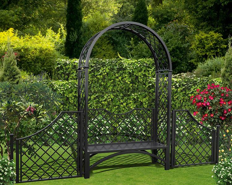 Metall Rosenbogen Portofino mit Gartenbank und 110 cm hohem Zaun