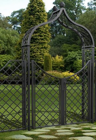Metal Garden Arch Brighton with double gates. and side panels