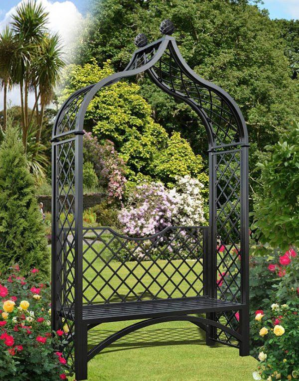 Metall Rosenbogen Brighton mit Gartenbank