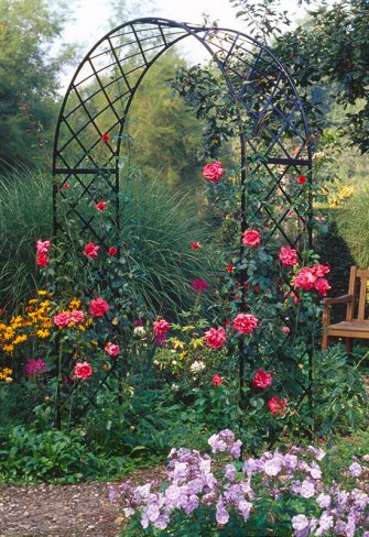 Rose arch Bagatelle with bench