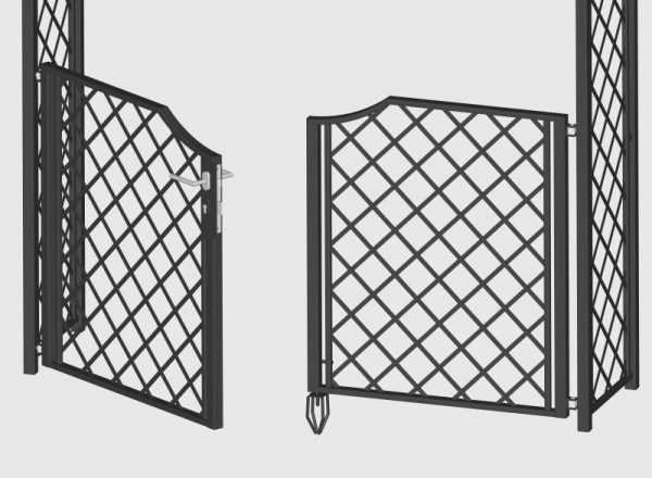 Close up of garden gate for metal garden arches