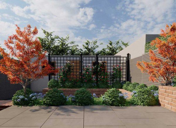 Elegant patio with Bauhaus Metal Railing Panels