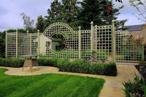 Dublin garden featuring The Trianon Rose Treillage Set