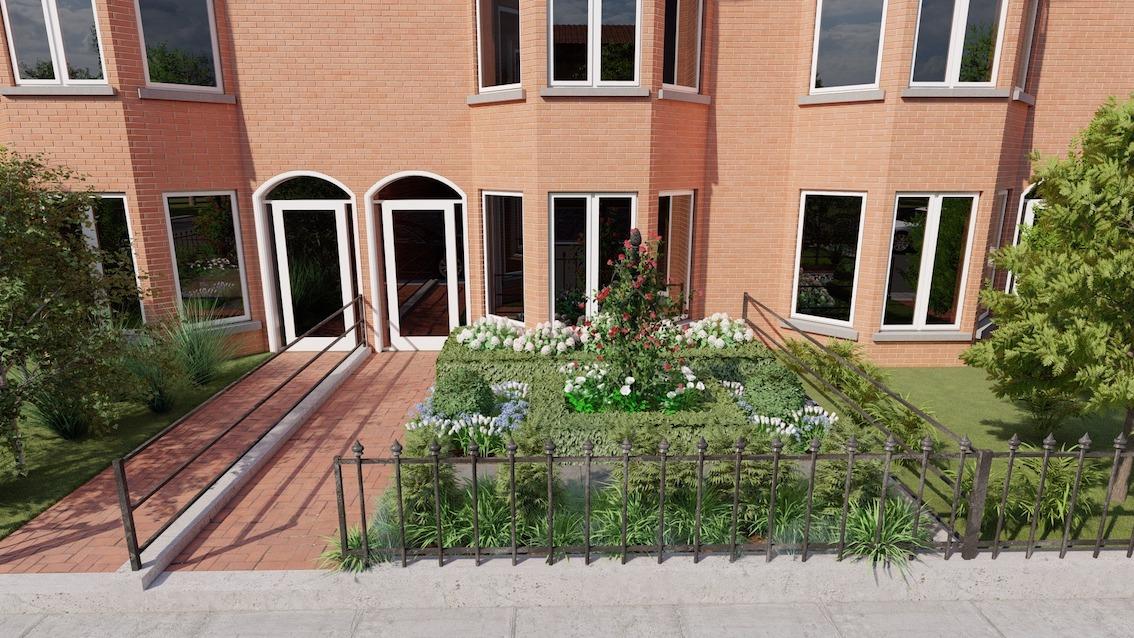 Kleiner-Vorgarten-mit-Rosensaeule